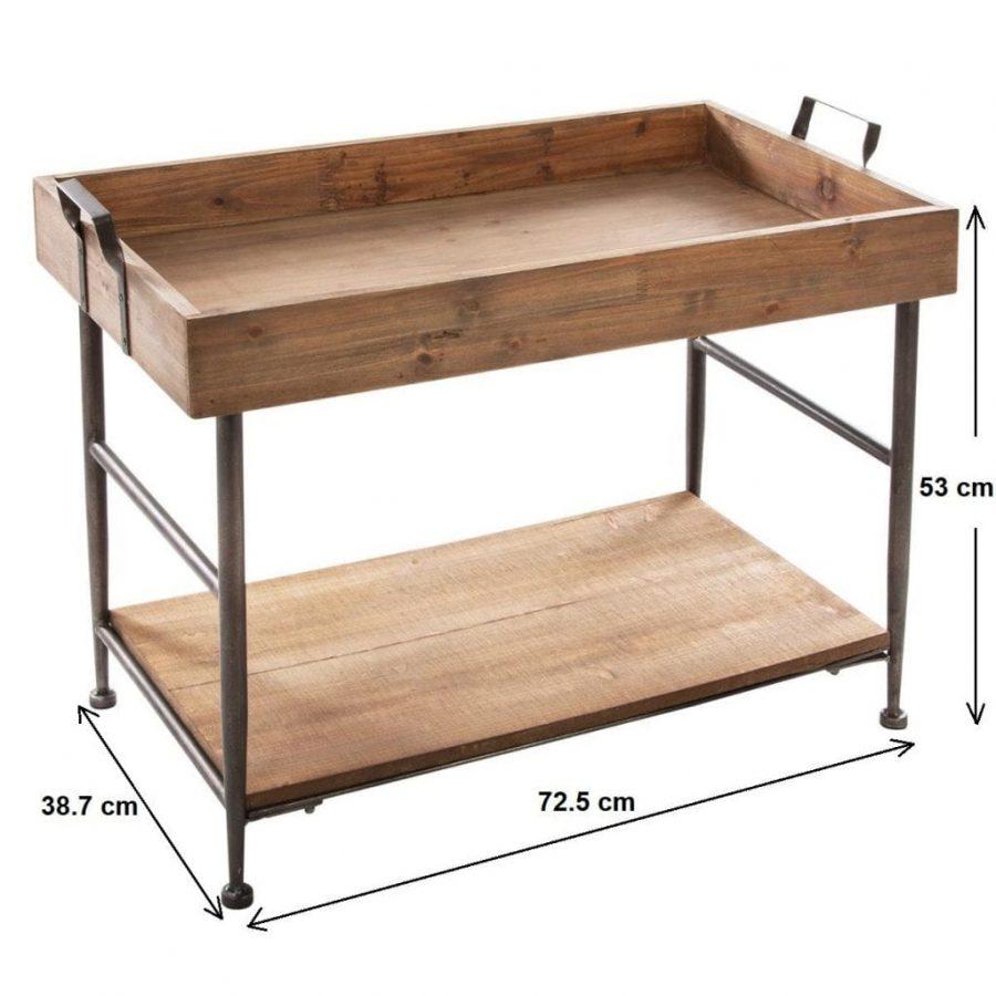 Mesa de café baja rectangular de 2 niveles - Estilo Vintage, FOREXPROS CAFE